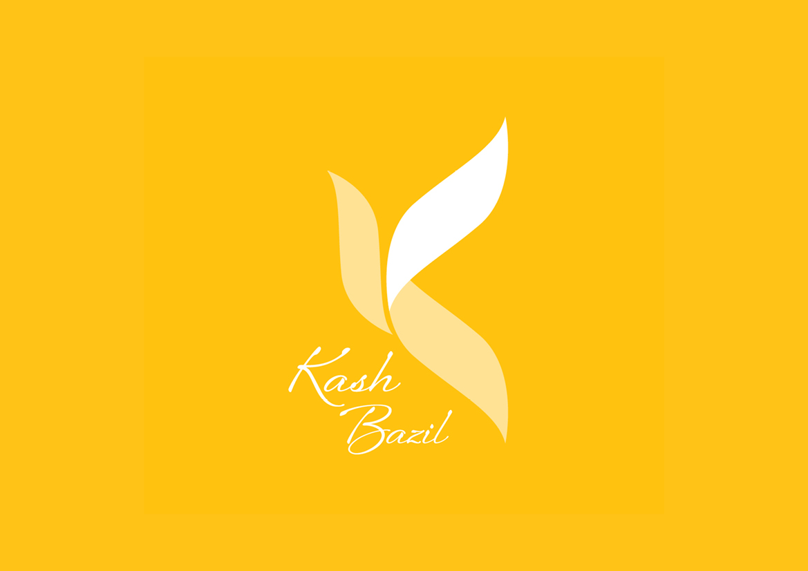 Yellow logo Kash Bazil Yoga Teacher